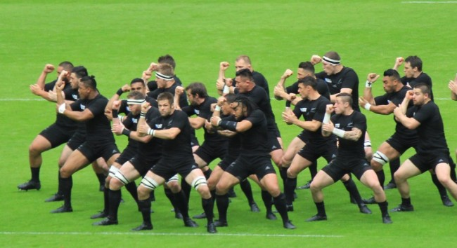 The 2015 Rugby World Champions New Zealand, doing the Hakka