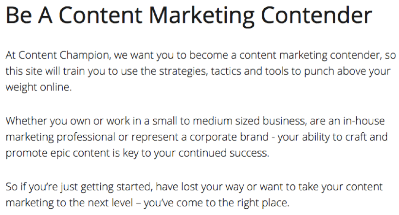 Content Champion about