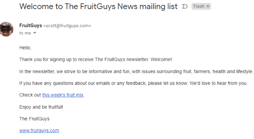Fruit Guys welcome email